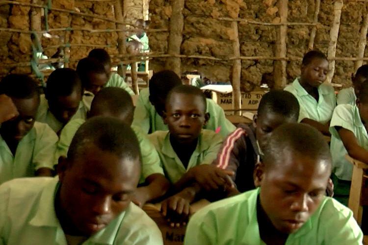 Children of Amkeni School, Kenya, studying hard